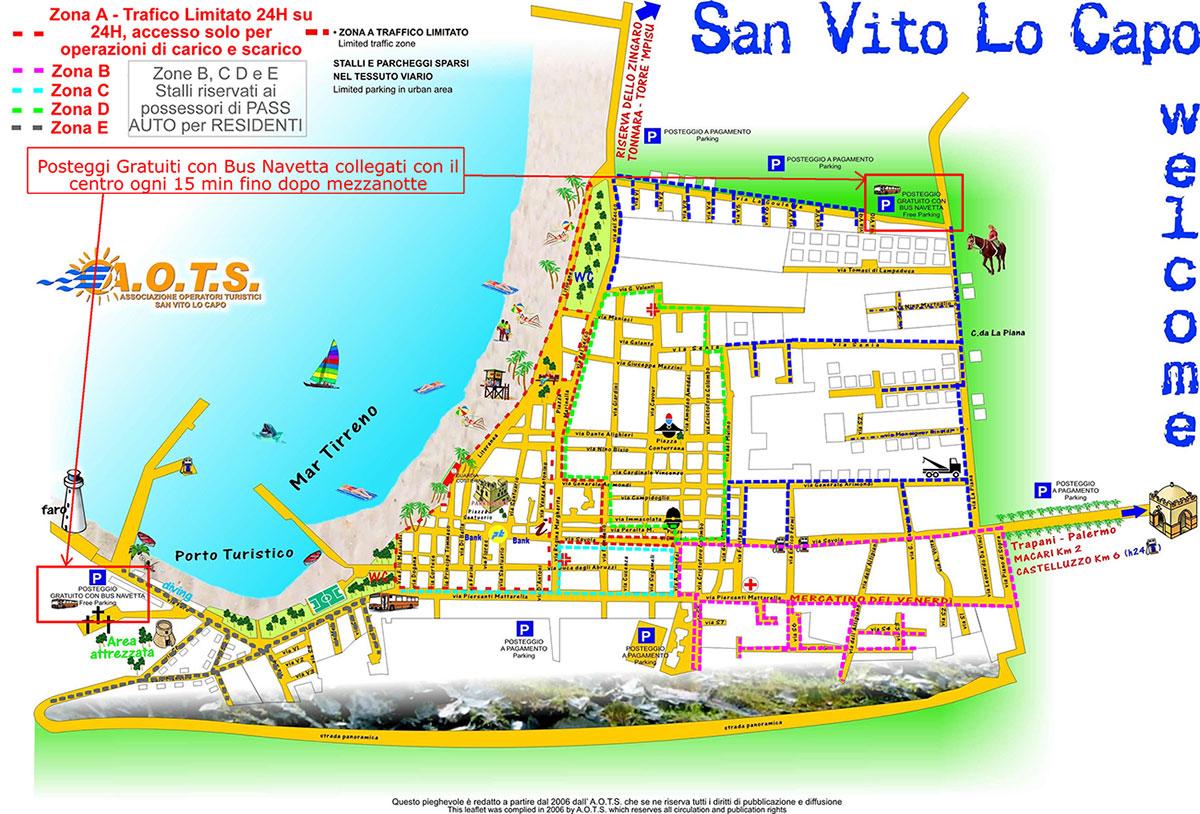 San Vito Lo Capo Cartina Sicilia.Parking In San Vito Lo Capo Un Mare Di Blu Case Vacanza